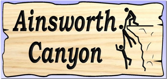 """Ainsworth  Canyon"" sign"