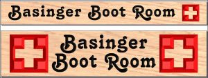 """Basinger Boot Room"" sign"