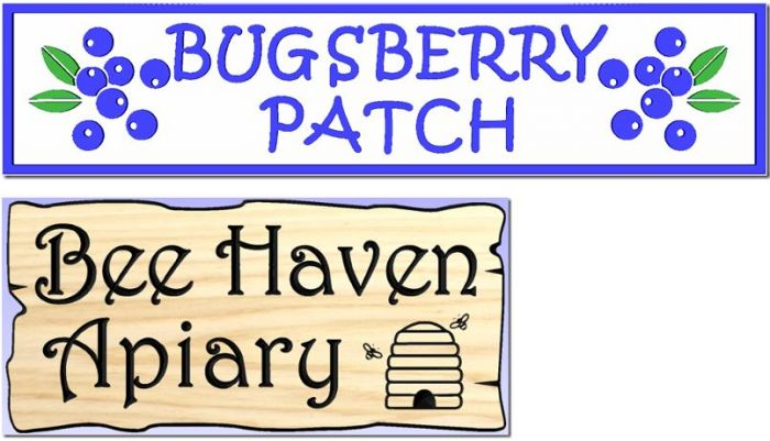 """Bugsberry/Apiary"" signs"