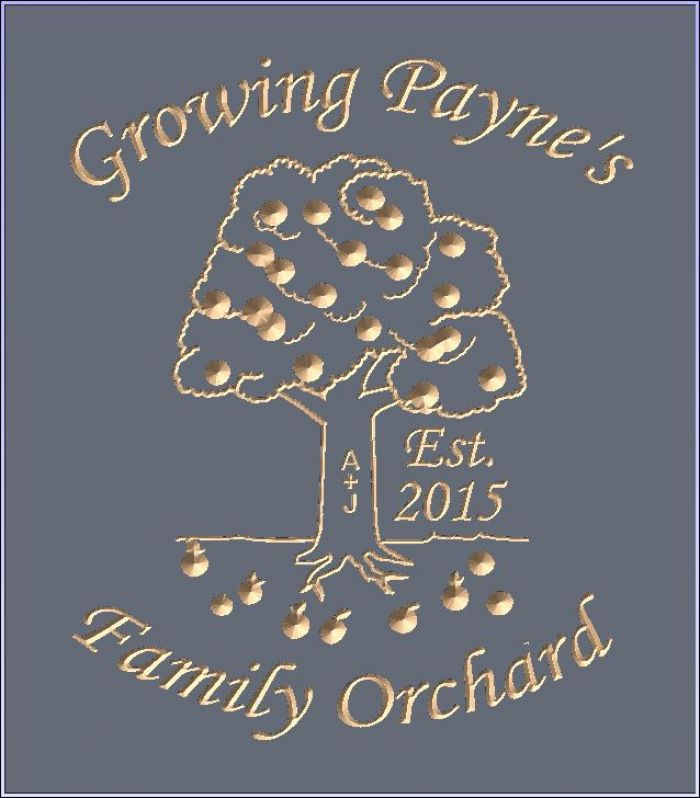 """Growing Payne's Family Orchard"" sign"