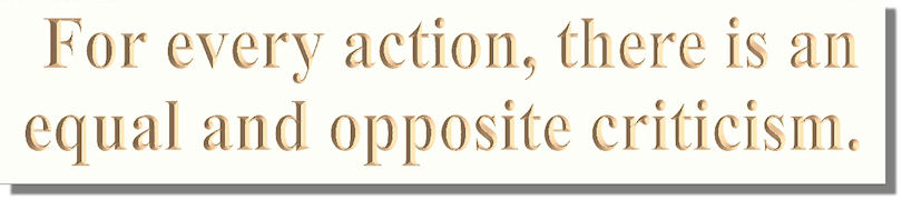 For every action, there is an equal and opposite criticism.