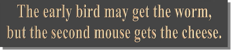"""early bird or second mouse essay """"the early bird may acquire the worm but the 2nd mouse gets the cheese """" decide which of the schemes ( """"early bird"""" or """"second mouse"""" ) is the most effectual in your life as a pupil and life in general."""