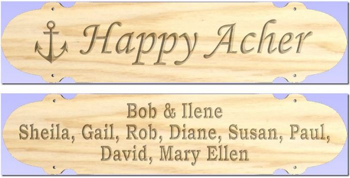 "(2) ""Happy Acher"" sign"