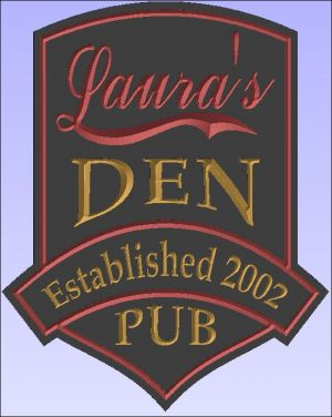"Laura's Den Pub"" sign"