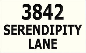 """3842 SERENDIPITY LANE"" sign"