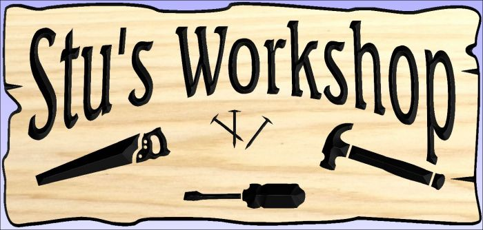 """Stu's Workshop"" sign"
