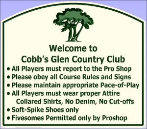 """Cobb's Glen Country Club"" welcome sign"