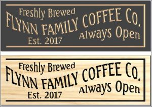 """Flynn Family Coffee"" sign"