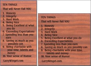 """Ten Things"" sign"