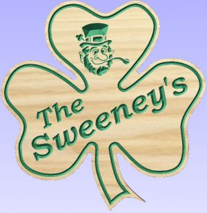 """The Sweeney's"" shamrock sign"
